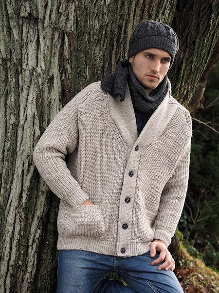 veste beige à col châle, côtes perlées, pure laine