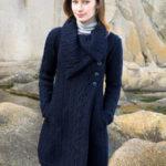 manteau bleu marine, torsades irlandaises, pure laine
