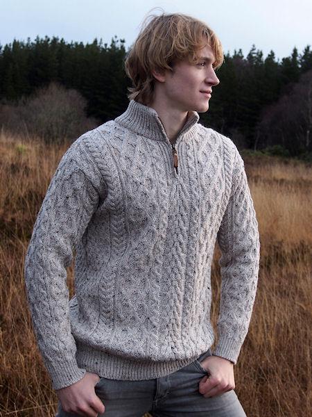 pull irlandais beige chiné pour homme, style aran, pure laine mérinos