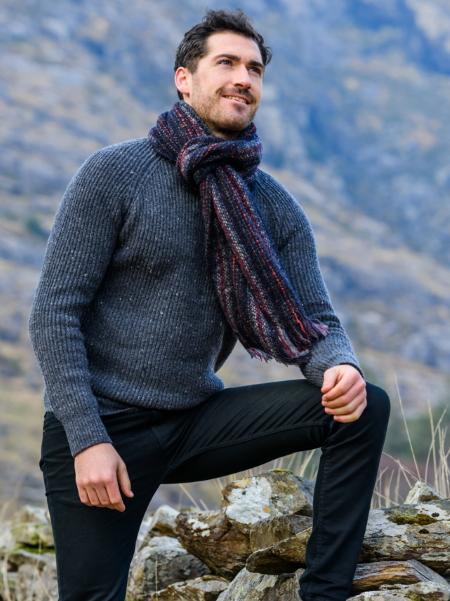 Pull homme en laine et écharpe chaude